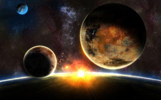 Фото бесплатно звезды, sunrise, планеты