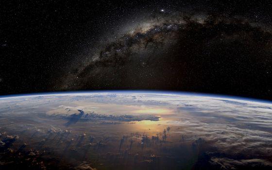 Бесплатные фото планета,новая,земля,небо,облака,звезды,млечный путь,космос