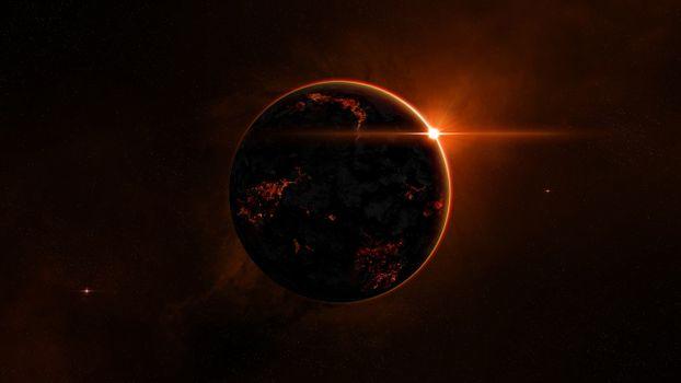 Фото бесплатно новые миры, планета, красное солнце