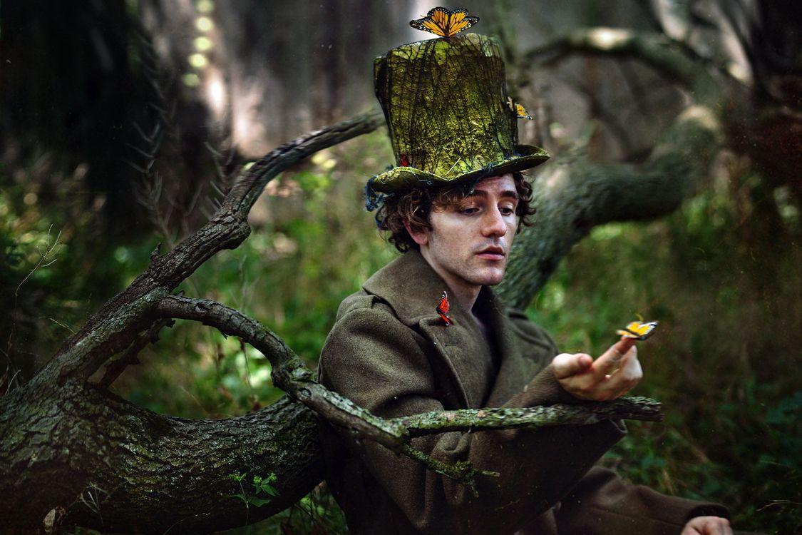 Фото бесплатно бабочки, человек, шляпа - на рабочий стол