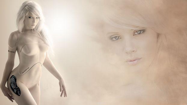Фото бесплатно блондинка, робот, механическая, фигура, лицо, пластик, девушки, рендеринг