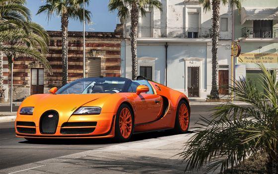 Фото бесплатно bugatti, veyron, оранжевый