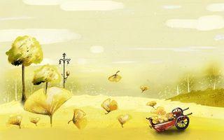 Бесплатные фото деревья,листья,земля,тележка,небо,облака,полет