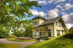 Заставки дом, загородный, скамейки