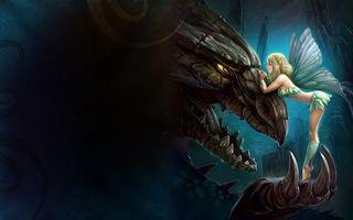 Бесплатные фото дракон,чудище,эльф,крылья,девочка,платье,юбка