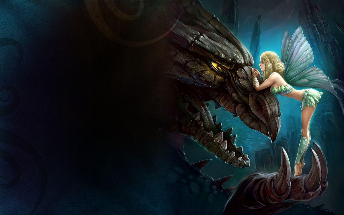 Фото бесплатно дракон, чудище, эльф - на рабочий стол