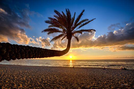 Заставки Гавайи, море, закат