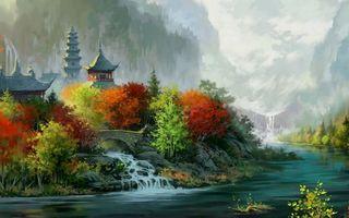 Бесплатные фото картина,осень,листопад,дома,деревья,парк,сад