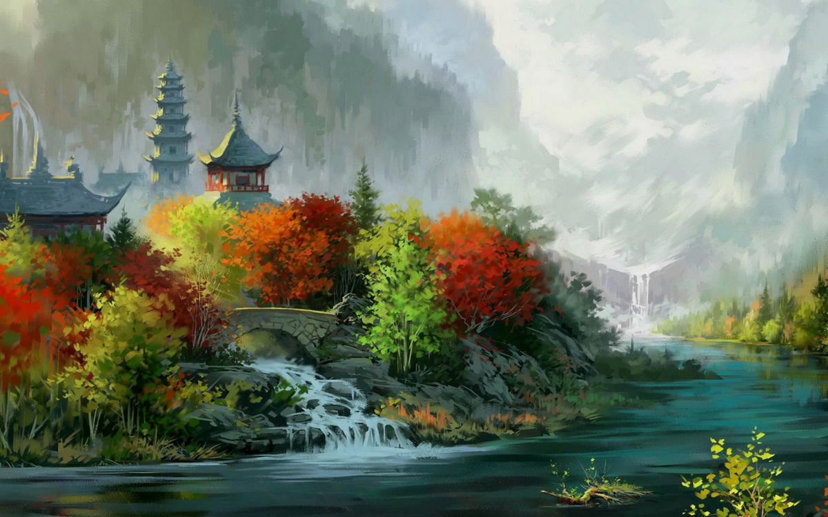 Фото бесплатно картина, осень, листопад, дома, деревья, парк, сад, лес, река, водопад, пейзажи, пейзажи