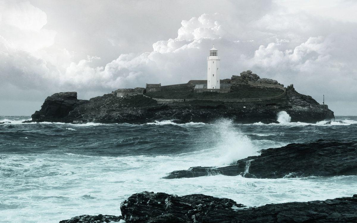 Фото бесплатно маяк, море, камни, небо, волны, облака, разное, разное