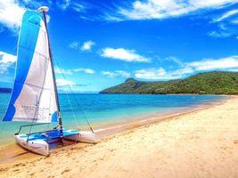 Фото бесплатно море, пляж, яхта, пейзажи