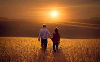 Бесплатные фото мужчина, женщина, поле, зелень, закат, солнце, ситуации