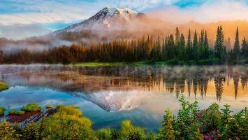 Бесплатные фото река,вода,лес,деревья,горы,снег,туман