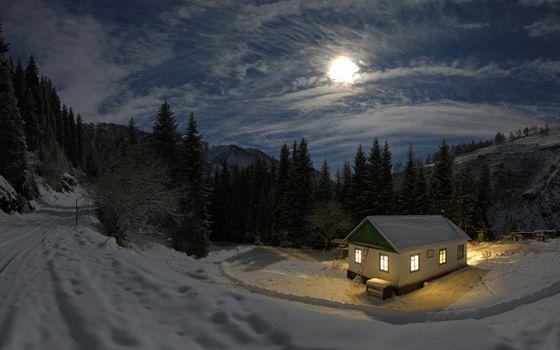домик, лес, горы, ночь, новый год