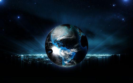 Фото бесплатно звёзды, луна, земля
