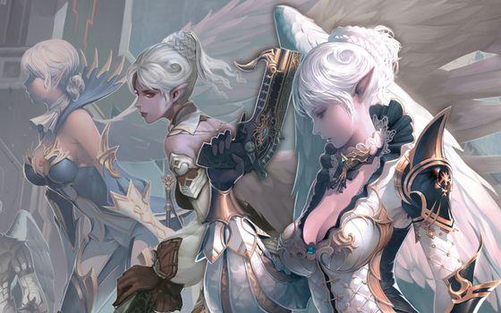 Бесплатные фото арт,оружие,lineage,ii,kamael,крылья,девушки