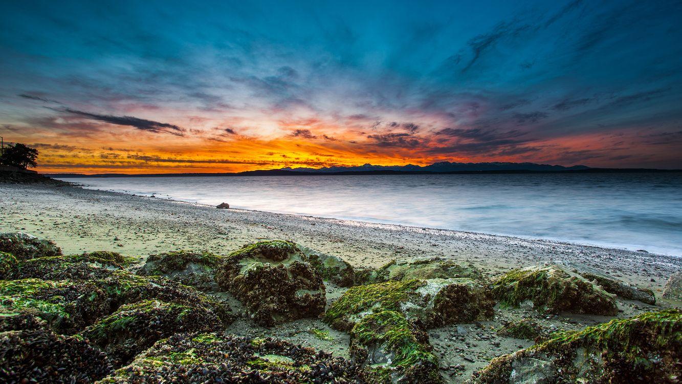 Фото бесплатно закат, камни, море - на рабочий стол