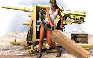 Обои девушка, пушка, оружие, шорты, ящик, снаряды, аниме