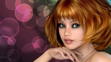 Обои девушка, рыжая, глаза, зеленые, губы, цепочка, рендеринг