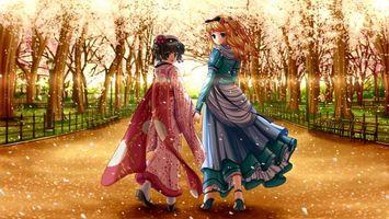 Бесплатные фото девушки,глаза,волосы,платья,парк,деревья,аниме