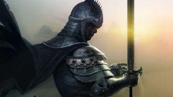 Бесплатные фото knight,warrior,sword,cap,sunrise,gray,фантастика