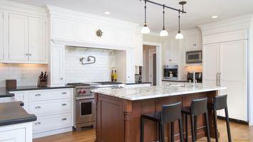 Photo free kitchen, table, lamp