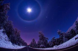 Бесплатные фото небо,ночь,зима,искажение,снег,дорога,трасса