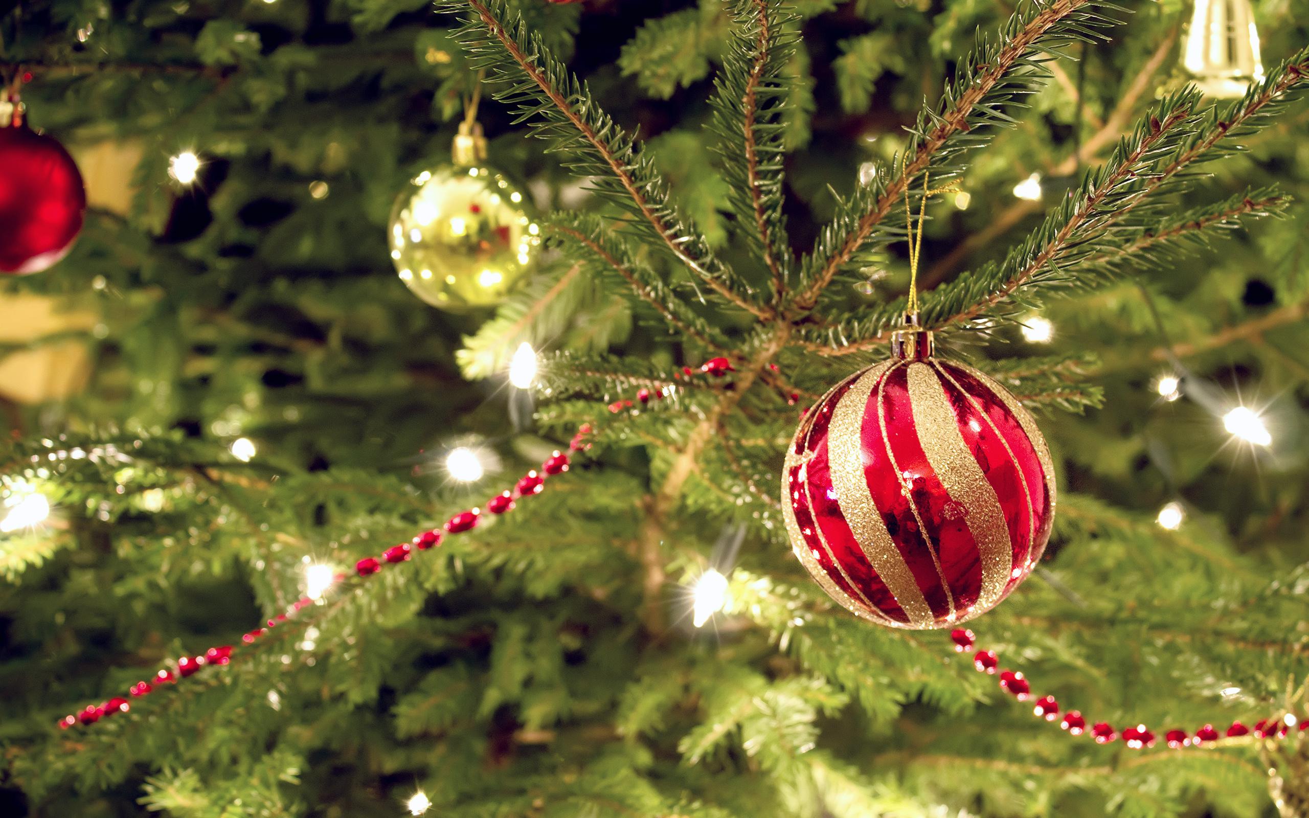 новогодний шар, еловая ветка, гирлянды