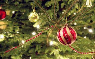 Фото бесплатно новогодний шар, еловая ветка, гирлянды, бусы, шары, новый год