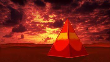 Фото бесплатно пирамида, красная, фон, тучи, пустыня, 3d графика