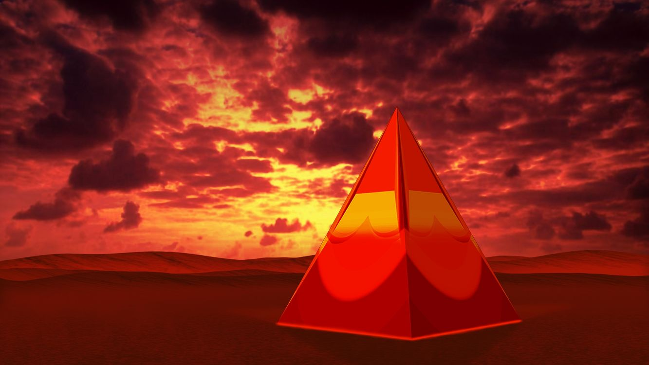 Фото бесплатно пирамида, красная, фон, тучи, пустыня, 3d графика, 3d графика