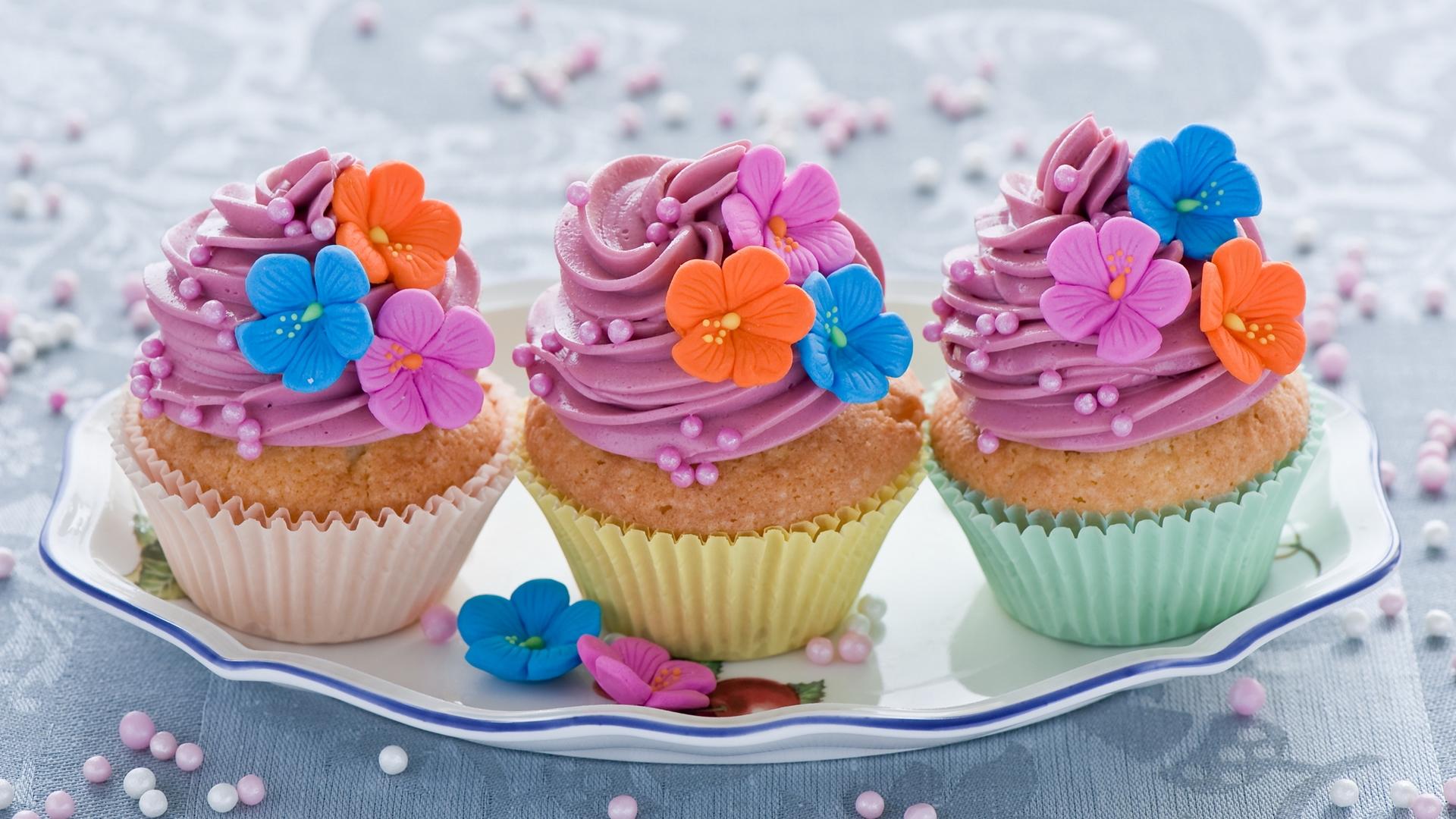 пироженое, крем, цветы