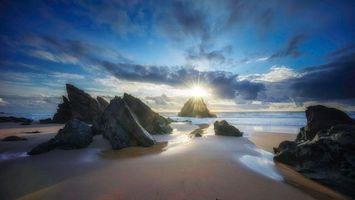 Фото бесплатно Пляж Адрага, Португалия, закат