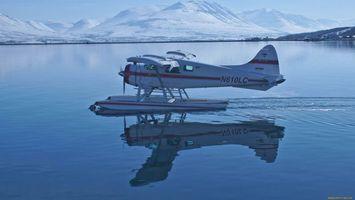 Бесплатные фото самолет,белый,вода,крылья,окна,горы,снег