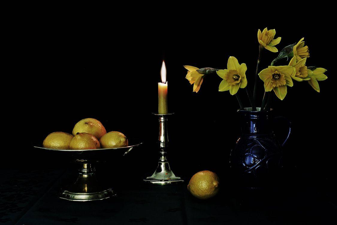 Фото бесплатно свеча, ваза, цветы, лимоны, натюрморт, разное