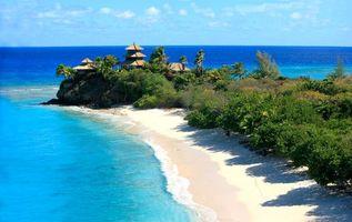 Заставка тропики, море, пляж на телефон