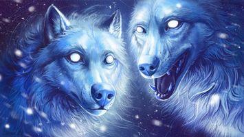 Фото бесплатно волки, звери, фантастика, art