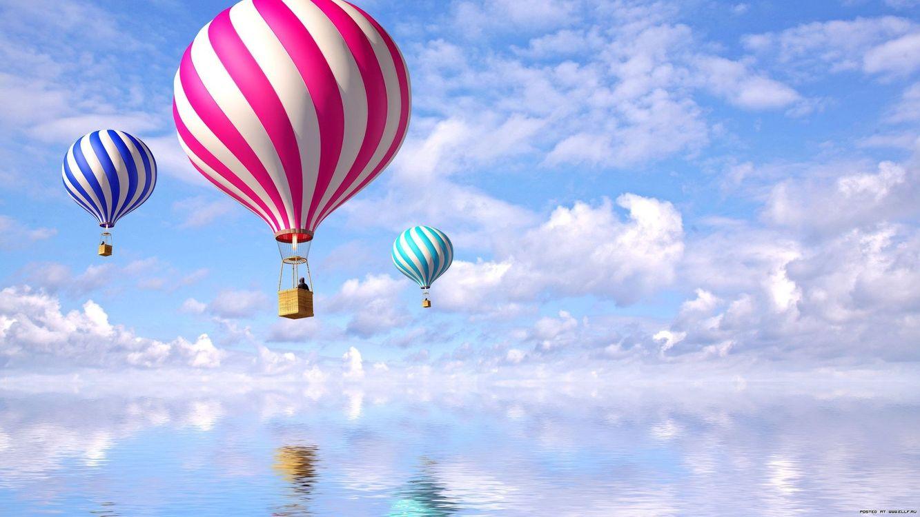 Фото бесплатно повітряна куля, вода, червоний, синій, фіолетовий, небо, хмари, летять, пейзажи, разное, ситуации, ситуации - скачать на рабочий стол