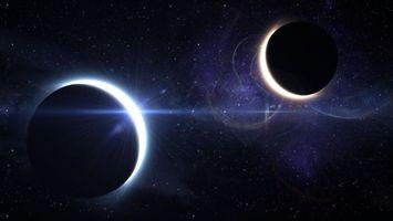 Бесплатные фото затмение,две планеты,две звезды,галактика,космос