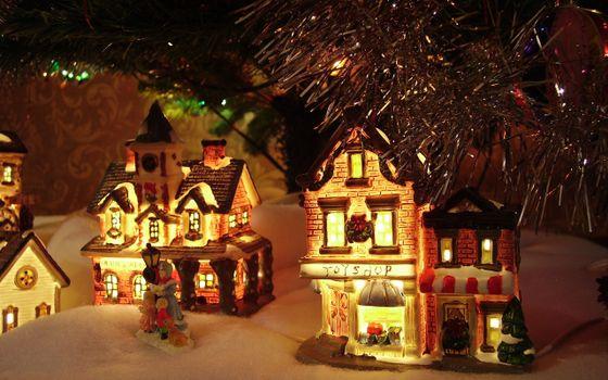 Фото бесплатно снег, игрушки, под ёлкой