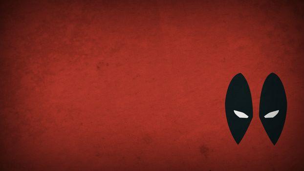 Заставки маска, черная, белые глаза, красный фон, рисованная, минимализм