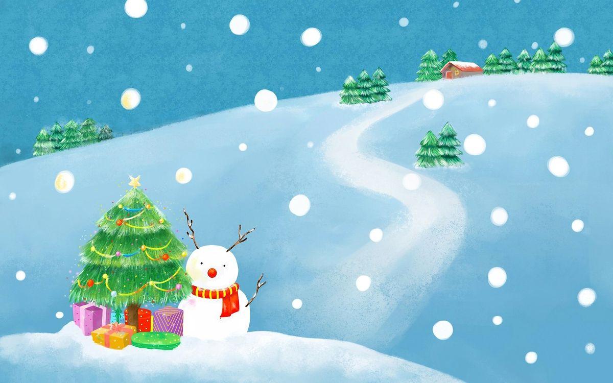 Фото бесплатно елка, зима, новый год, снег, праздник, снеговик, рисунок, разное