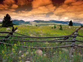Бесплатные фото забор,пейзаж,холм,трава,цветы,небо,тучи
