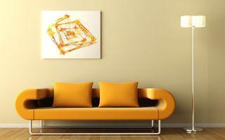 Фото бесплатно диван, оранжевый, стена