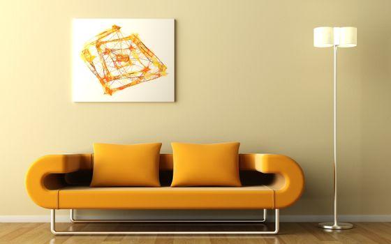 Photo free sofa, orange, wall