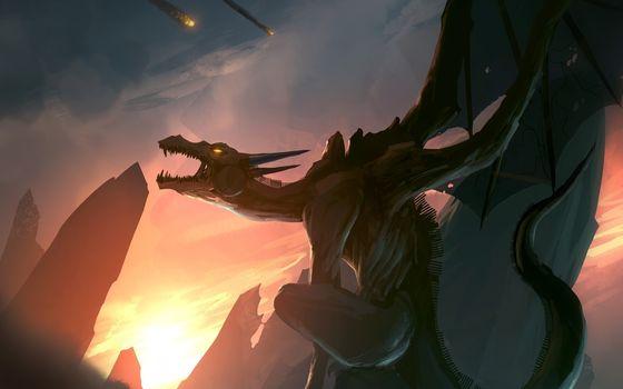Фото бесплатно dragon, sunset, nature, fantasy, фантастика