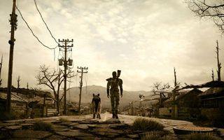Фото бесплатно fallout 3, человек и собака среди пустоши, постапокалипсис