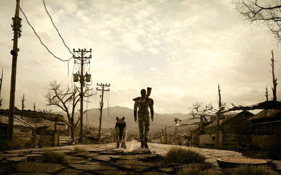 Photo free fallout 3, man and dog among the wasteland, post-apocalypse