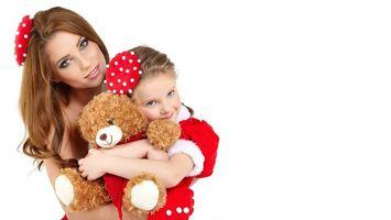 Заставки женщина, ребенок, мать, девочка, шапочки, красные, белый, горошек, плюшевый мишка, костюм, красный, настроения