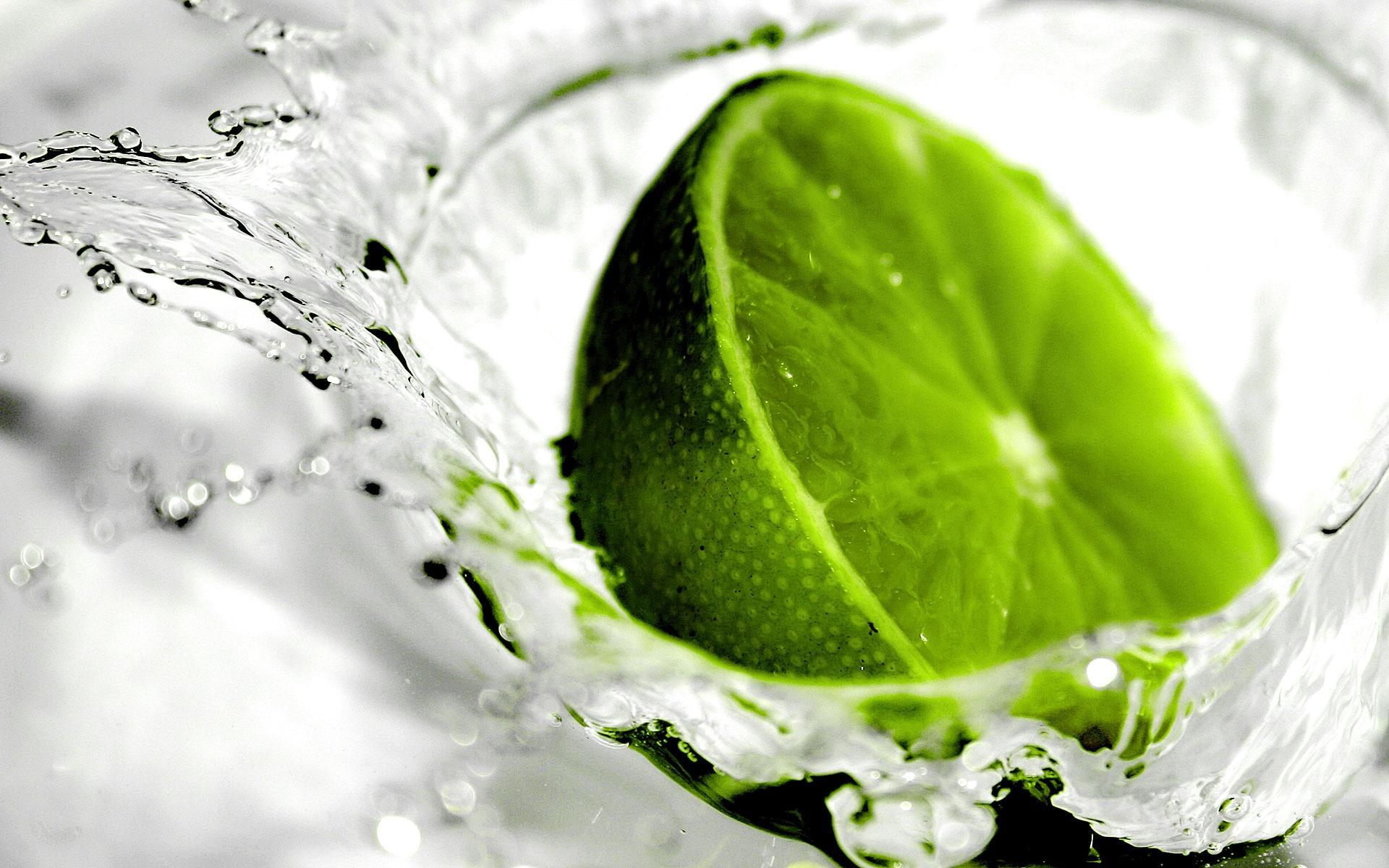 обои лайм, зеленый, брызги, вода картинки фото
